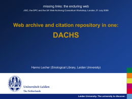 Web archive and citation repository in one: DACHS