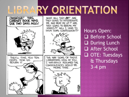 Library Orientation - Sequim School District