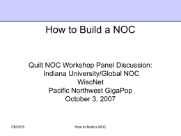 Overview - How to Build a NOC