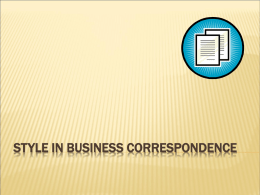 Style in Business Correspondence