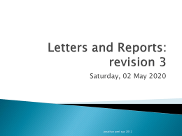 Letters and Reports: revision 3