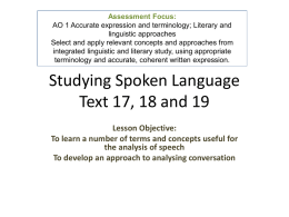 Studying Spoken Language Text 18 and 19