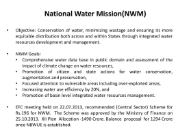 NWM Activities undertaken - Ministry of Water Resources