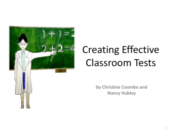 Creating Effective Classroom Tests