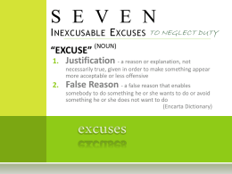 SEVEN Inexcusable Excuses