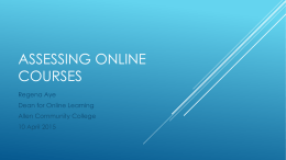 Assessing Online COURSES - Johnson County Community College