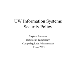 UW Security Policy - University of Washington