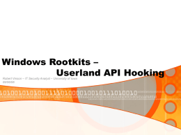 Windows Rootkits - Userland API Hooking