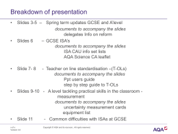 Breakdown of presentation