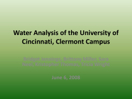 Water Analysis of the University of Cincinnati, Clermont