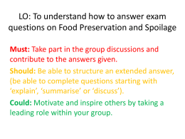LO: To understand how to answer exam questions on Food