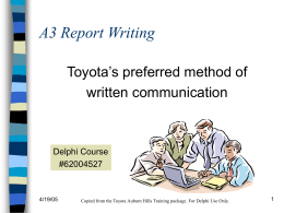 A3 Report Writing