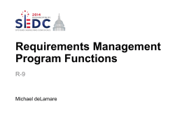 Requirements Management Program Functions