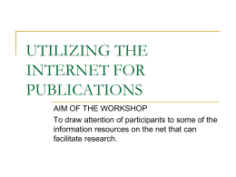 UTILIZING THE INTERNET FOR PUBLICATIONS