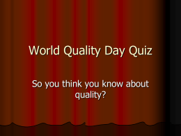 World Quality Day Quiz - Institute of Biomedical Science
