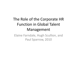 The Role of the Corporate HR Function in Global Talent