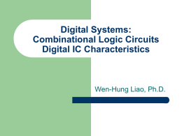Digital Systems: Combinational Logic Circuits