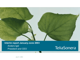 TeliaSonera Interim Report Jan