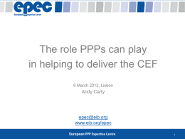 The role PPPs can play in helping to deliver the CEF