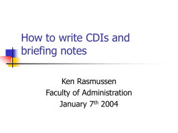 How to write briefing notes and CDIs