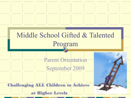 Middle School Gifted & Talented Program