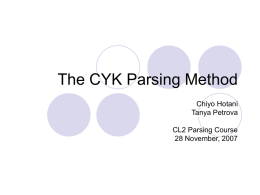 CYK Parsing Method