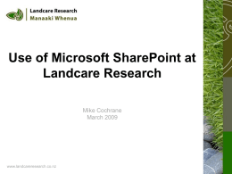 Landcare Research Use of SharePoint
