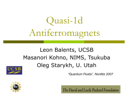 Quasi-1d AFs - UCSB Physics Department