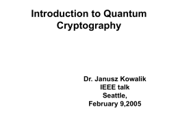 Introduction to quantum cryptography