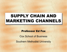 Chapter 13: Distribution Channels and Logistics Management