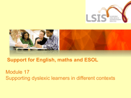 Support for Literacy, Language and Numeracy