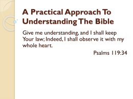 A Practical Approach To Understanding The Bible