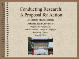 Conducting Research:Proposal for Action Research