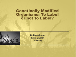 Genetically Modified Organism Labels