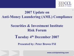 MONEY LAUNDERING TRAINING