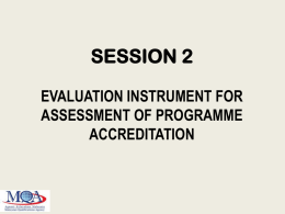 Evaluation Instrument for Assessment of provisional and