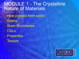 The Crystalline Nature of materials