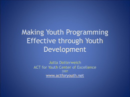 Making Youth Programming Effective through Youth Development
