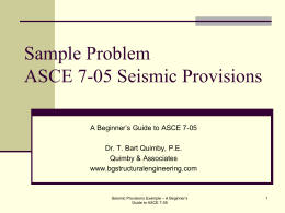 Sample Problem NEHRP Seismic Provisions