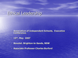 Ethical Leadership - Associate Professor Charles Burford