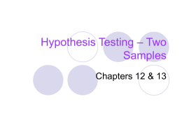 Hypothesis Testing – Two Samples