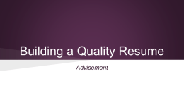 Building a Quality Resume