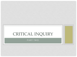 Critical Inquiry - Philosophy Stuff