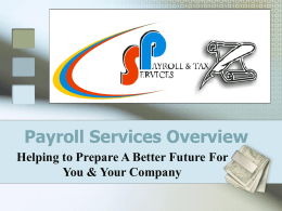 SP PAYROLL & TAX SERCIVES - Payroll and Tax Services