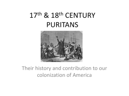 17th & 18th CENTURY PURITANS