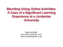 Blending Using Online Activities: A Case of a Significant
