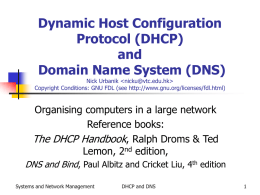 Dynamic Host Configuration Protocol (DHCP) and Domain Name