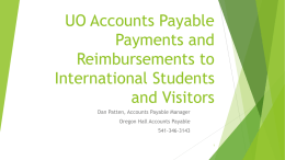 UO Accounts Payable Payments and Reimbursements to Foreign