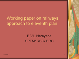 Working paper on railways approach to eleventh plan