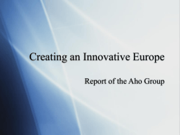 Creating an Innovative Europe